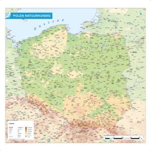 Landkaart Polen natuurkundig