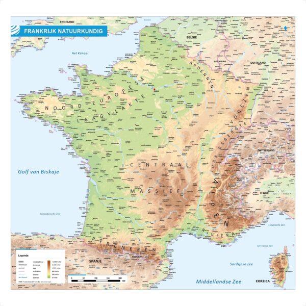 Landkaart Frankrijk natuurkundig