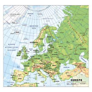 Schoolkaart Europa natuurkundig