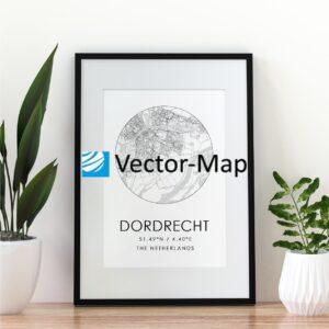 kaart poster Dordrecht