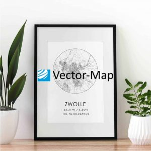 kaart poster Zwolle