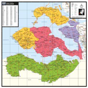 Kaart Zeeland met postcodes