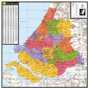 Kaart Zuid-Holland met postcodes