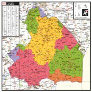 Kaart Drenthe met postcodes
